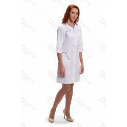 "Халат ""DoctorBIG"" женский №242 белый/бирюзовый"