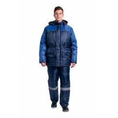 Куртка зимняя мужская для инженера NEW (тк.Оксфорд), т.синий/васильковый