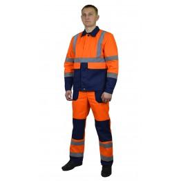 """Костюм мужской """"Стрит"""" летний сигнальный куртка, п/к оранжевый с т.синим с СОП"""